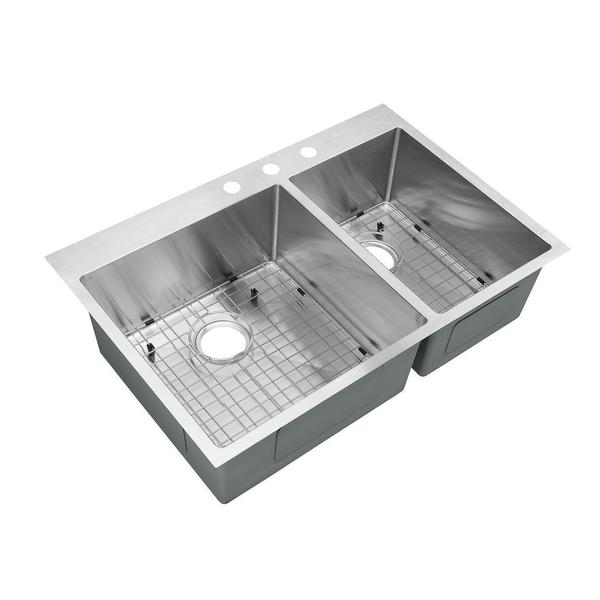 Top Stainless Steel Sinks : ... Top-Mount Drop-In Stainless Steel Double Bowl Kitchen Sink With Grids
