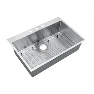 Starstar Silver Finish Stainless Steel 36-inch x 22-inch Top-mount Drop-in Single-bowl Kitchen Sink With Grid