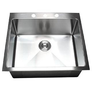 Starstar Silver 16-gauge 304 Stainless Steel 19-inch x 17-inch Top-mount Drop-in Single-bowl Kitchen Sink