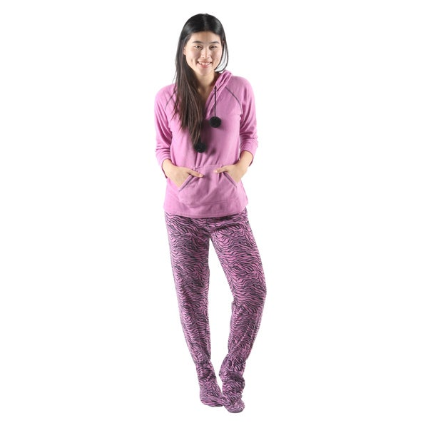 c20fbc571926 Shop Hadari Women s Soft Cute Pink Tiger Print Pajama Set - Free ...