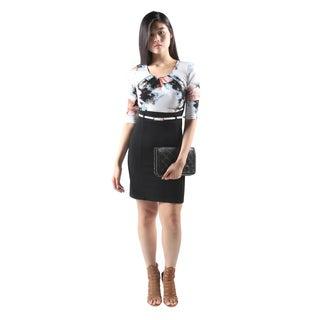 Hadari Womens Sexy ShortSleeve Flower Print BodyconDress