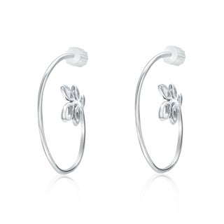 Pearlyta Women's Boma Sterling Silver Pearl Half-hoop Leaf Earrings