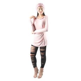 Hadari Women's Cowl Neck Pink Button Embellished Top