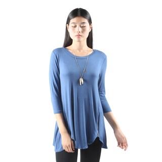 Hadari Womens Casual Round Neck Long SleeveSexyBlue Top