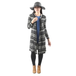 Hadari Womens Open Front Geomertic Hooded Cardigan Sweater