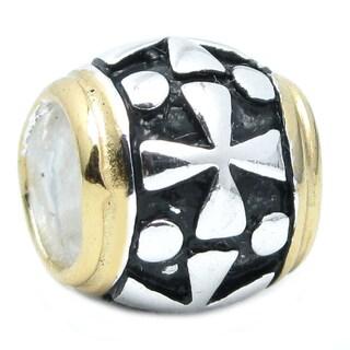 Queenberry 14k Gold and 925 Sterling Silver Cross Barrel European Charm Bracelet Bead