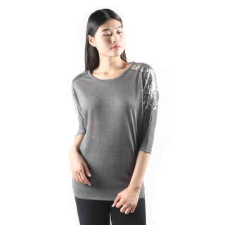 Hadari Womens CasualGrey DolmanSleeve Loose Fit Top