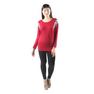 Hadari Womens Sexy Long Sleeve Red Dolman Tunic Top