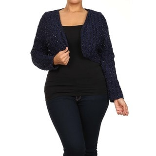 Women's Plus Size TrendyShort Sleeve CrochetOpen Front Shrug Cardigan
