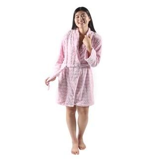 Hadari Women's Pink Valentine Night Plush Robe