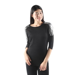 Hadari Womens Casual Black Dolman Sleeve Loose Fit Top