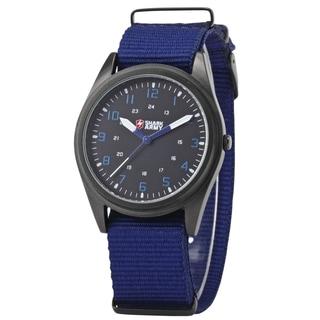 Shark Sport Watch Men's Army Black Dial/ Blue Nylon Military Outdoor Quartz Wrist Watch with Gift Box