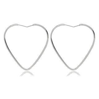 Avanti Sterling Silver Heart Shape Hoop Earrings