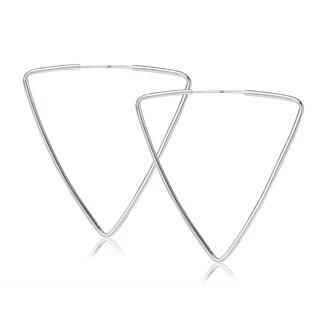 Avanti Sterling Silver Triangle Shape Hoop Earrings