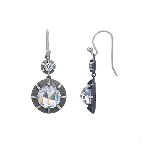 Victorian Style Sterling Silver Old Euro-cut and Rose-cut Cubic Zirconia Double Drop Earring by Gerald David Bauman