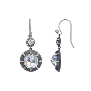 Victorian Style Sterling Silver Old Euro-cut and Rose-cut Cubic Zirconia Double Drop Earring by Gerald David Bauman (2 options available)