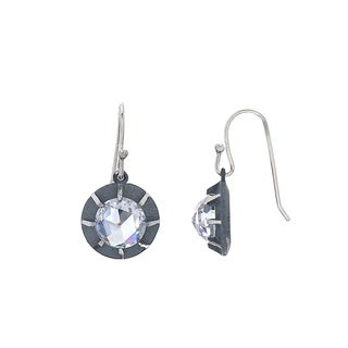 Victorian Style Sterling Silver Single Rose-cut CZ Earring by Gerald David Bauman (2 options available)