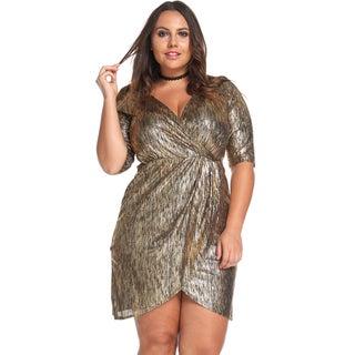 Women's Plus Size Sexy Evening V-NeckShort MetallicGoldWrap Dress