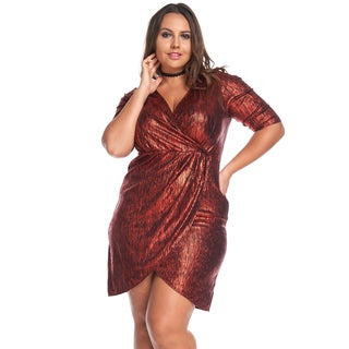 Women's Plus Size Sexy Evening V-NeckShort MetallicCharcoalWrap Dress