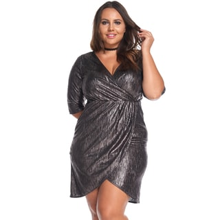 Women's Plus Size Sexy Evening V-Neck Short MetallicRedlWrap Dress