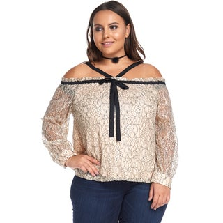 Women's Plus Size Casual Off Shoulder Long SleeveBeige Blouse Top