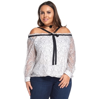 Women's Plus Size Casual Off Shoulder Long SleeveBeige Blouse Top