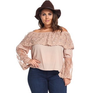 Women's Plus Size Sexy Lace Embroidery Floral Off Shoulder Blouse Shirt
