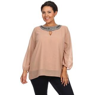 Women's Plus Size Beaded Keyhole Neckline Burgundy Blouse Shirt Top