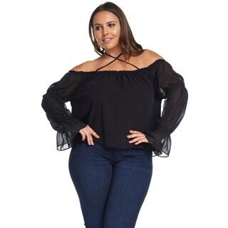 Women's Plus SizeSexy Off Shoulder Long SleeveRuffleBlack Blouse