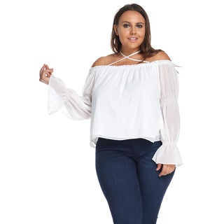 Women's Plus SizeSexy Off Shoulder Long SleeveRuffleWhite Blouse