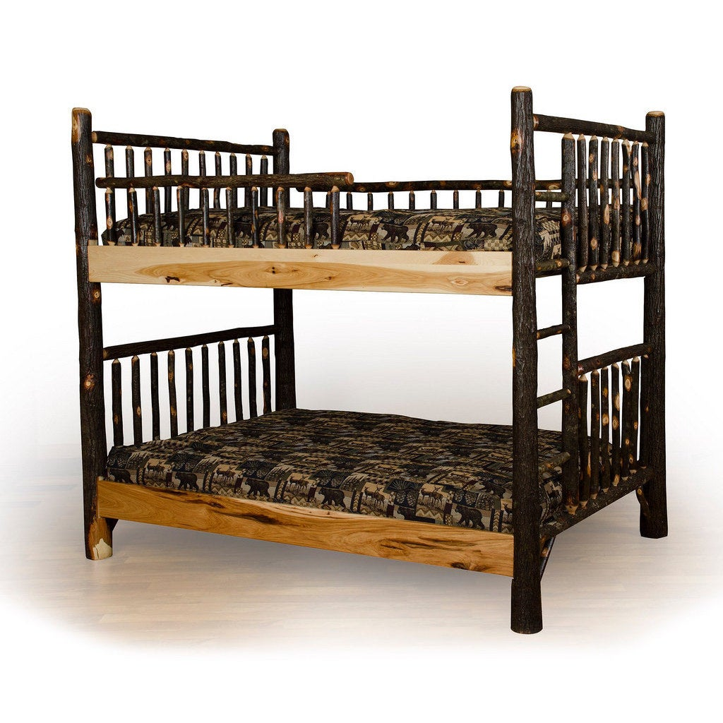 Picture of: Shop Rustic Hickory Log Bunk Bed Set Overstock 13250453