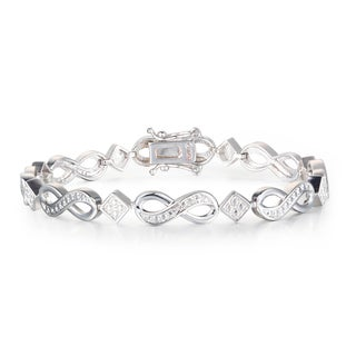 1 Diamond Infinity Bracelet In Platinum Overlay