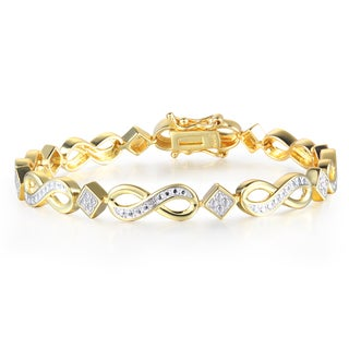 1 Diamond Infinity Bracelet In Yellow Gold Overlay