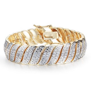 Heavy 2 Carat Diamond Bracelet In Yellow Gold Overlay