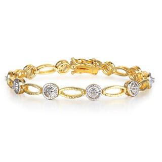 Two-Tone 1/5 Carat Diamond Tennis Bracelet In Yellow Gold Over Brass