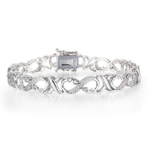 1/10 Carat Diamond XO Infinity Bracelet In Platinum Over Brass - White J-K