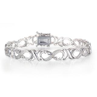 1/10 Carat Diamond XO Infinity Bracelet In Platinum Overlay