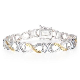 1/10 Carat Diamond XO Infinity Bracelet In Yellow Gold Overlay