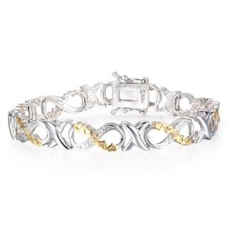 1/10 Carat Diamond XO Infinity Bracelet In Yellow Gold Over Brass - White J-K