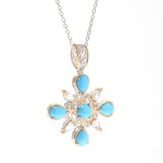 Michael Valitutti Palladium Silver Sleeping Beauty Turquoise and White Zircon Pendant