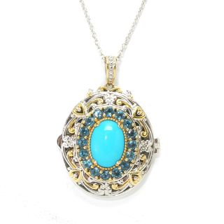 MIchael Valitutti Palladium Silver Sleeping Beauty Turquoise with London Blue Topaz Halo Locket Pendant