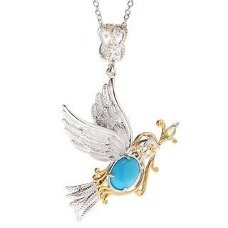 Michael Valitutti Palladium Silver Sleeping Beauty Turquoise with Peridot Bird Pendant