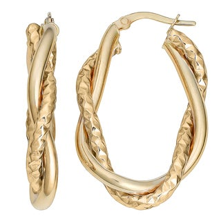 Fremada Italian 14k Yellow Gold Intertwined Oval Hoop Earrings