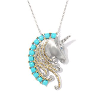 Michael Valitutti Palladium Silver Sleeping Beauty Turquoise and Ligh Blue Sapphire Unicorn Pendant/Brooch