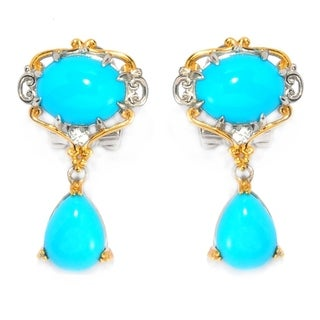 Michael Valitutti Palladium Silver Sleeping Beauty Turquoise and White Sapphire Omega Back Drop Earrings