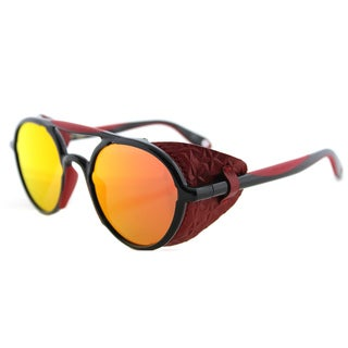 Givenchy GV 7038 TFD Black Red Plastic Round Red Mirror Lens Sunglasses