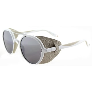 Givenchy GV 7038 TFE White Beige Plastic Round Silver Mirror Lens Sunglasses