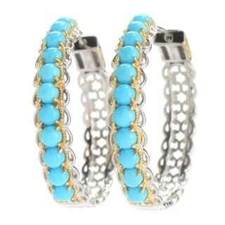 Michael Valitutti Palladium Silver Sleeping Beauty Turquoise Hoop Earrings