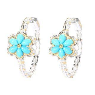 Michael Valitutti Palladium Silver Sleeping Beauty Turquoise Flower Hoop Earrings (Option: Hoop)|https://ak1.ostkcdn.com/images/products/13250571/P19964443.jpg?impolicy=medium