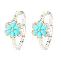 Michael Valitutti Palladium Silver Sleeping Beauty Turquoise Flower Hoop Earrings
